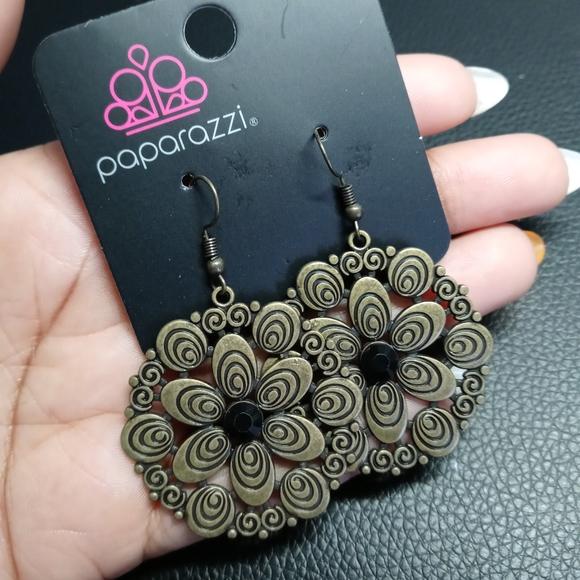 Paparazzi Brass Flower Fish Hook Earrings